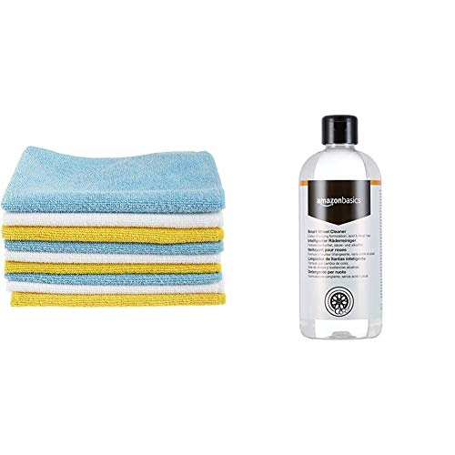 AmazonBasics Microfibre Cleaning Cloths Pack of 12 & Smart Wheel Cleaner 500ml Trigger Spray