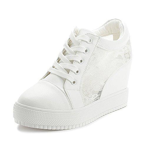 SOIXANTE Chaussure Mode Baskets Dentelle Femme Sneaker Talon Compensé 7 CM, Blanc, 39 EU