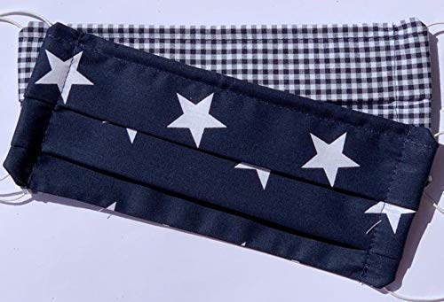 Mund-Nase-Maske, Behelfsmaske 2er Set Sterne blau/blau kariert 1mm Gummikordel