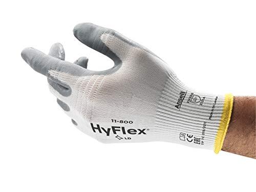 Ansell HyFlex 11-800 Arbeitshandschuhe, Industrie und Mechaniker-Handschuh mit verbesserter Griff- und Komforttechnologie, Weiß Grau Größe 7 (12 Paar)