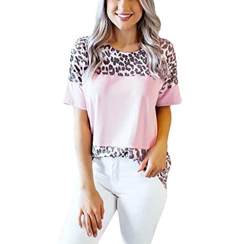 SLYZ 2021 Camiseta Casual De Cuello Redondo con Costura De Patrón De Leopardo Superior De Manga Corta con Estampado De Moda De Verano para Mujer