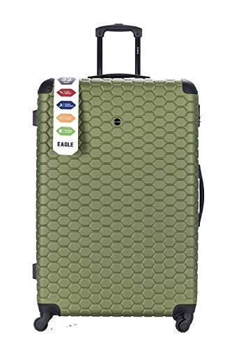 Maleta de Viaje rígida de plástico ABS, con Ruedas giratorias, con candado de combinación y 4 Ruedas giratorias Verde Verde Caqui 32 Inch 88 x 57 x 31.5cm, 135L, 5.2 Kg