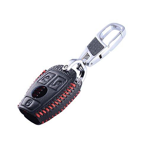 Maxiou Schlüsselanhänger-Schutzhülle aus Leder, für Mercedes Benz W203, W204, W211, CLK, C180,E200,AMG, C / E / S-Klasse, inkl. Ring, Luxury Red