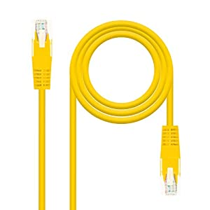 NanoCable 10.20.0400-Y - Cable de red Ethernet RJ45 Cat.6 UTP AWG24, 100% cobre, Amarillo, latiguillo de 0.5mts