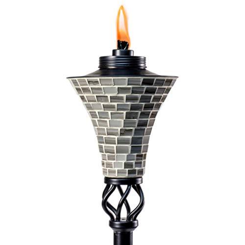 TIKI Brand 1118037 Hosta Metal Mosaic Torch, 62-inch, Silver,Black/Silver
