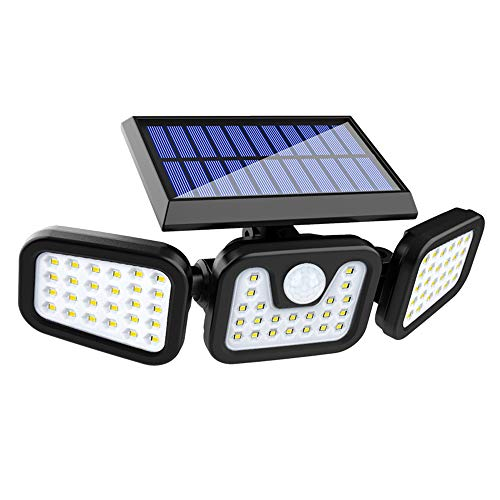 OURISE Solar Security Light, Flood Lights with Motion Sensor, LED Chips, 6000K, Adjustable Heads, IP65 Waterproof 3 Head Exterior Light for Yard, Court, Street, Parking