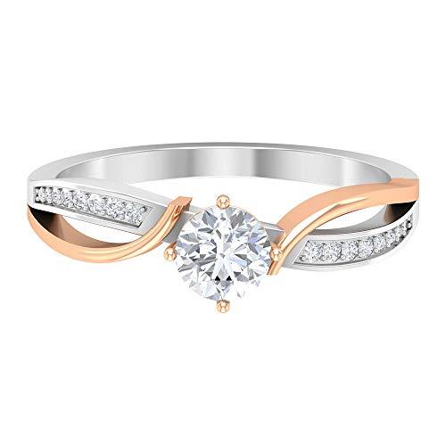 Anillo de compromiso antiguo, anillo de boda en espiral, anillo de diamante vintage HI-SI de 0,58 ct, anillo de solitario lateral, 14K Oro rosa, Diamante, Size:EU 49