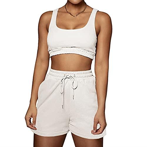 Vertvie Conjunto de 2 piezas para mujer, pantalones cortos sin costuras y cintura alta, Blanco roto., S