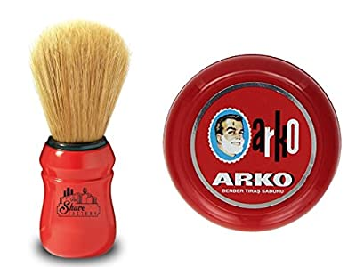 Arko Shaving Soap 90g in Traditional Bowl Case + Omega Shaving Brush Natural Boar Bristle by Arko/Omega