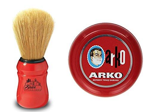 Arko/Omega Rasierseife, 90 g, Schale + Omega Rasierpinsel, natürliche Wildschweinborsten, Rot