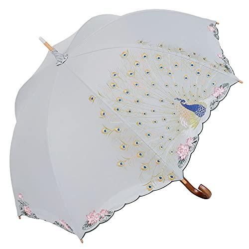 日傘 晴雨兼用 女優日傘 長日傘 刺繍 孔雀 完全遮光 遮熱 UVカット かわず張り 涼しい 特殊2重張り 全面刺繍 (グレー)