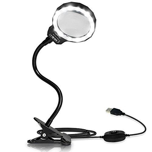 Lupenleuchte mit Klemme, Achort USB Lupenlampe 3X LED Tischlupe mit Schwanenhals, 8 Dioptrien Lupen mit LED, 3x Fach Vergrößerungslampe
