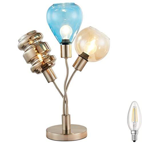 LED Tischlampe 3 flg. Glas Vintage Tischleuchte im Industrial Design Retro Design Lampe Nachttischlampe Farbe: Nickel smoke blau gold Fassung: E14 Filament 3W inkl. Schalter (Tischleuchte incl. LED)