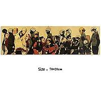 ビンテージアニメPoster Naruto AkatsukiキャラクターコレクションスタイルCクラフト紙ポスターレトロな寮の装飾絵画51x36cm (Color : E)
