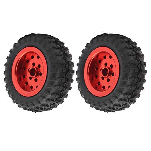 Bnineteenteam Rueda RC, 2 Piezas Ruedas de Coche Neumático de Goma Aleación de Aluminio Antideslizante 52 mm Ajuste para camión WPL D12 1/10 RC(Rojo)