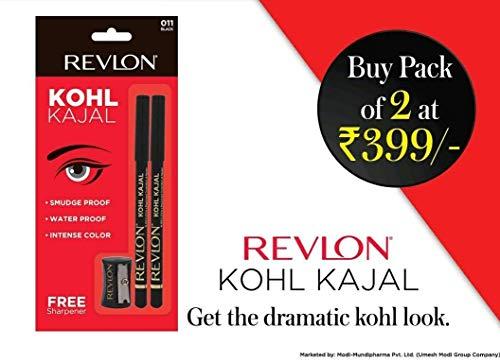 Revlon Kohl Kajal Eye Liner Pencil Black, 1.14g with Free Sharpner