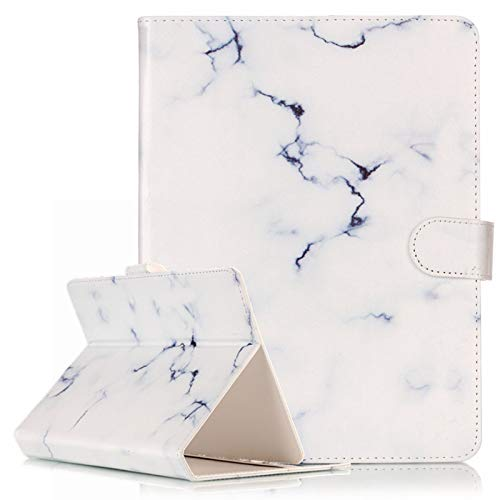 Universal Folio Case for 7.5-8.5 Inch Tablet, Techcircle Slim Light Standing Cover Protective Leather Case for iPad Mini 1 2 3 4 / Samsung Galaxy Tab / Huawei Android Windows Tablet, White Marble