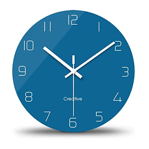 XIALIUXIA Silent Wall Clock,No Ticking Modern Wall Clocks Round Glass Wall Clock,12 Inch Sweep Movement Wall Clocks for Office/Home/Living Room/Dining Room/Kitchen Decorative,F