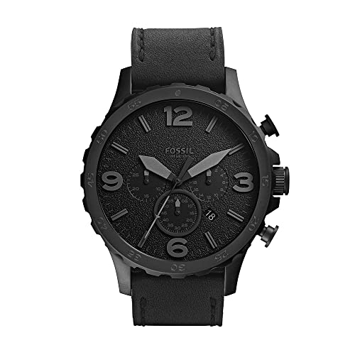 Fossil Men's Nate Quartz Stainless Steel and Leather Chronograph...