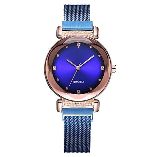 Frauenuhr Schlankes Minimalistisches Zifferblatt Aus Quarz Mit Magnetischer Schnalle Damen Uhren Mode Einfache Diamant Dial Uhr Damenuhr FriendGG (Blau)