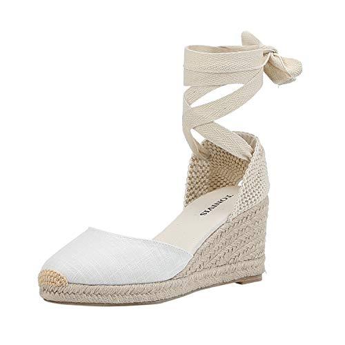 Women's Platform Wedges Espadrilles, 2.5' Wedge, Soft Ankle-Tie Strap, Closed Toe, Classic Summer Sandals White 5.5 Size