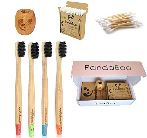 KIT x4 Bamboo toothbrush with bristles medium hardness with active carbon, x100 Cotton Fioc in Bambu and a Bio Toothbrush Holder in Bamboo also suitable for the little ones New 2019