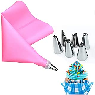 YSHG 8Pcs/Set Stainless Steel Pastry Nozzles for Cream with Pastry Bag Decorating Cake Icing Piping Confectionery Baking T...
