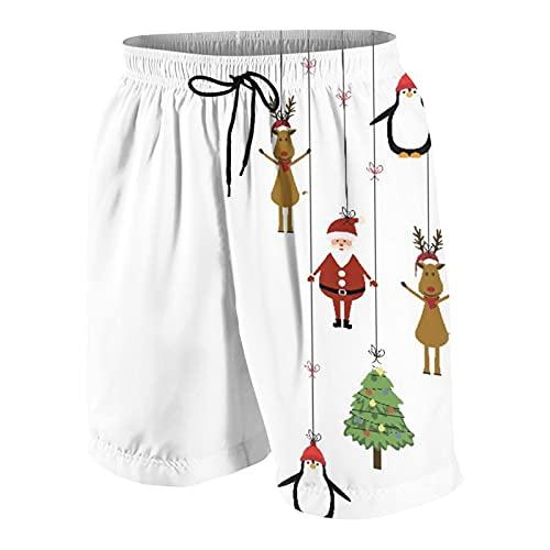 KOiomho Uomo Personalizzato Costume da Bagno,Simpatica Cartolina di Natale con Babbo Natale, Renne E Pinguino,Casuale Beachwear Costumi Pantaloncini da Surf
