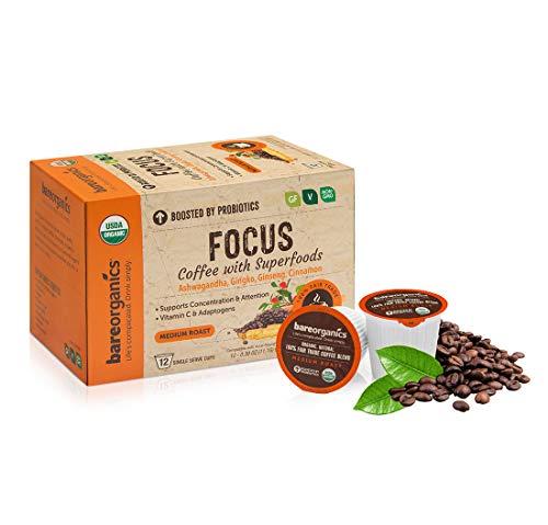 BareOrganics 13180 Focus Coffee with Superfoods, Organic Probiotic Coffee, 12 Single Serve Cups