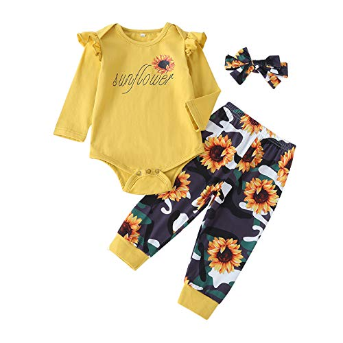 Newborn Baby Girl Clothes OutfitsInfant Long Sleeve Ruffle Tops Romper Bodysuit Onesies Floral Pants Clothes Toddler Baby Girl Clothes Set with Headband 3PCS