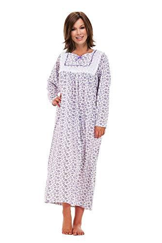 i-Smalls Ladies Easy Fit Langes Nachthemd 100% Baumwolle mit Spitzendetail (XL) Purple