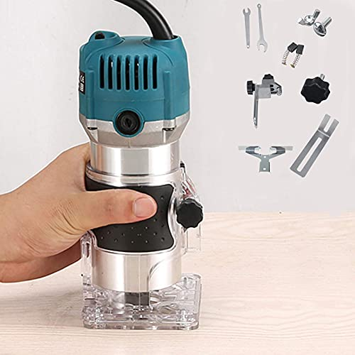 Wood Router,Router Tool Wood Trimmer Router Electric Hand Trimmer Laminate Milling Engraving Hand Machine Joiner Tool Electric for Slotting Trimming Carving 110V 800W 30000R/MIN