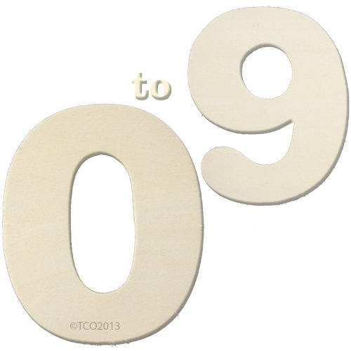 Wooden Number Set 0-9 (1/8 Thick 4 Long About 3-1/4Wide) Numbers