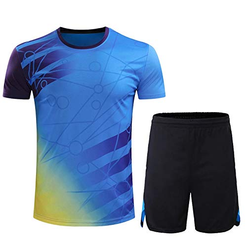 WYNBB 2021 Hombres Basketball Table Tennis Deportes Jersey,Verano Football Formación T-Shirts Set,Mujer Badminton Respirable Shorts de Playa,Blue,Medium