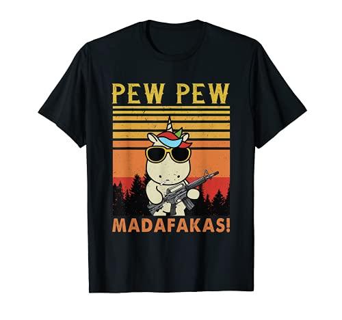 Pew Pew Madafakas | Regalo retro de los amantes del unicornio Crazy Pew Camiseta