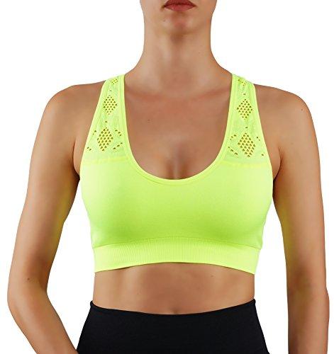 ROUGHRIVER Damen Yoga Top Sport BH mit herausnehmbaren Pads Atmungsaktiv Race Back 2er-Pack 3er-Pack - Gelb - X-Small (65/70)