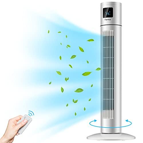 Ventilador de Pie Silencioso, Ventilador de Torre con Control Remoto, Temporizador 12h y Pantalla LED Ventilador de Columna de Oscilación 90 ° con , Ventilador con 3 Niveles de Velocidad, (45W 85cm)