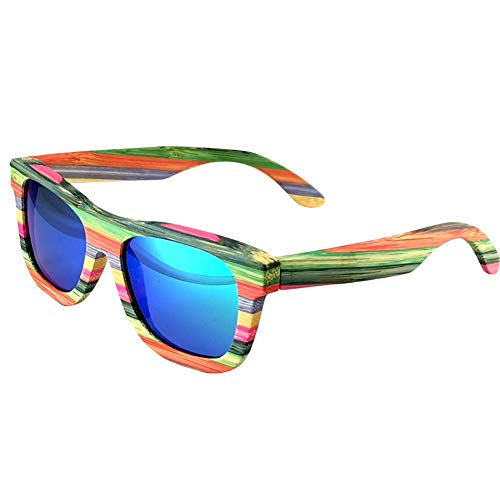 Bamboo Sunglasses Polarized Women Lightweight Colorful Wood Sunglasses that Floating Outdoor (Green)