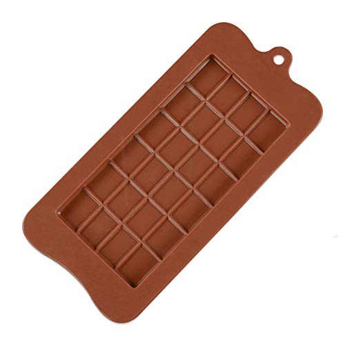 LHGXQ-Dp Chocolate Silicone Mold, Non-Stick And Reusable Food-Grade Diy Protein Energy Bar Baking Tool, Green And Environmentally Friendly 24 Grid Dessert Mold,Brown,22.5 * 10.8 * 0.7CM