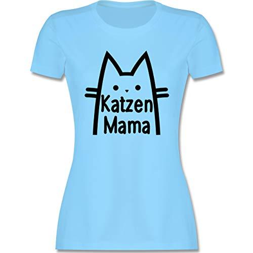 Katzen - Katzen Mama - M - Hellblau - Shirt Katze - L191 - Tailliertes Tshirt für Damen und Frauen T-Shirt