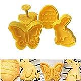 LINLIN 4 unids/Set Mariposa, Conejo, Pollo, Forma de Huevo de Pascua Animal Plástico Fondant Cookie Cutter Biscuit Cake Mold Cake Decoration