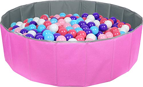 Click N' Play Kids Ball Pit Foldable Play Ball Pool with Storage Bag. Pink (Balls Not Included)