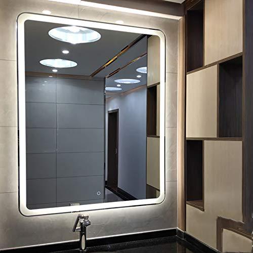 B&G Espejo LED con Pantalla de luz antiniebla Smart Touch, Espejo de baño, a Prueba de explosiones Espejo, LED Tira Impermeable Luz,60X80CM