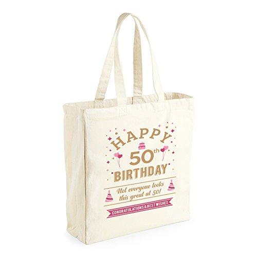 Bolsa de lona de algodón de 50 cumpleaños - Para mujer - Como regalo, recuerdo o para hacer la compra - Natural - 42 x 39 x 13 cm