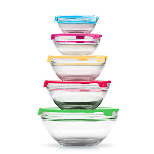 Imperial Home MW1640 Glass Mixing Bowls Glass Food Storage Containers With Multi Color Lids Total 10 pcs Set