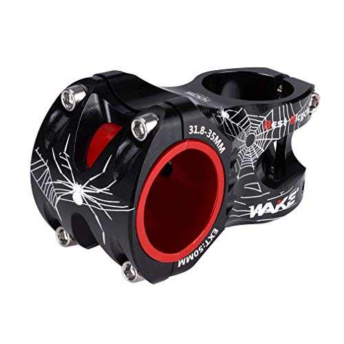 MTB Stem 31.8 35 Stem 50mm 0 Degree Wake Mountain Bike Stem Short Handlebar Stem for Most Bicycle, Road Bike, MTN, BMX, Fixie Gear, Cycling (Aluminum Alloy, Black)