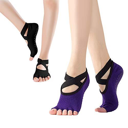 DIAOCARE Yoga Socken Damen Antirutsch,2 Pairs rutschfeste Yoga Socken mit Antibakteriell und Schweiß Absorbierend,Ideal für Yoga Pilates Ballett,Fitness Sport (Schwarz & Lila)