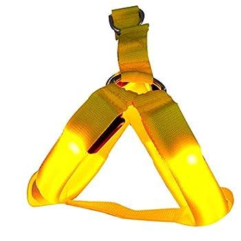 Cosay Gilet de sécurité pour Chien avec col Lumineux LED Rechargeable Jaune