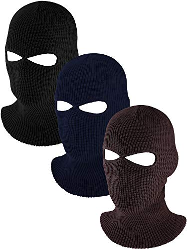 Full Face Cover Knit Ski Mask Ultra-Thin Full Face Mask Winter Bike Cycling Balaclava with 2 Holes for Outdoor Sports (Black, Coffee, Navy Blue)