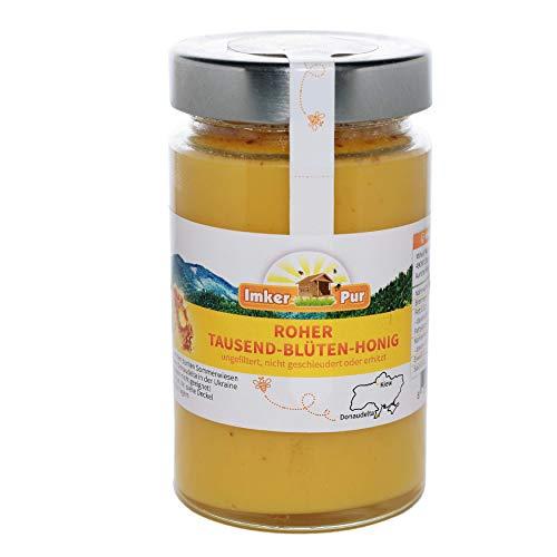Ruwe honing uit ImkerPur, ongefilterd, niet gecentrifugeerd of verhit, bevat bloemenstuifmeel, bijenwas, propolis, bijenbrood en koninginnengelei (400 g rauwe duizendbloemenhoning)